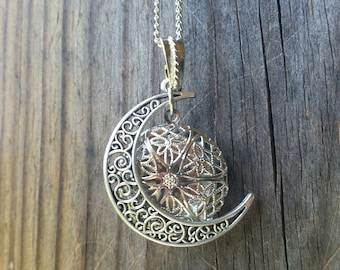 Free, Essential Oil Diffuser Necklace Silver Moon Aromatherapy Young Living Doterra