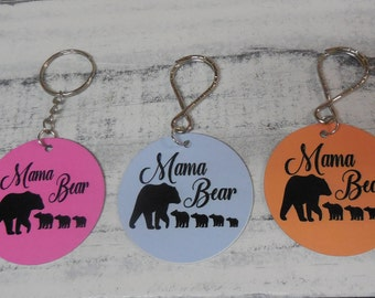 Mama Bear with cubs  key chain- 3cubs- 4 cubs- 5 cubs-custom printed  mama bear keyring-key chain - key ring-Mother's Day gift-Mother's gift