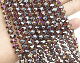 8x6mm Faceted Purple Glass Beads, Glass Rondelle Beads