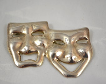 Sterling Theater Mask Pin Comedy and Tragedy