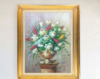 "A Bouquet of White Roses with White and Red Lilacs Original Oil Painting 24"" X 36"" Floral Still Life Stretched only or brown or gold frame"