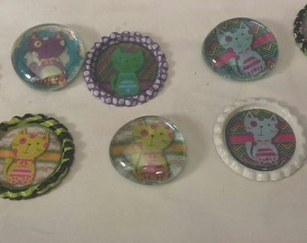 10 neon kitty cat themed bottle cap & glass gem magnets cupcake toppers gift