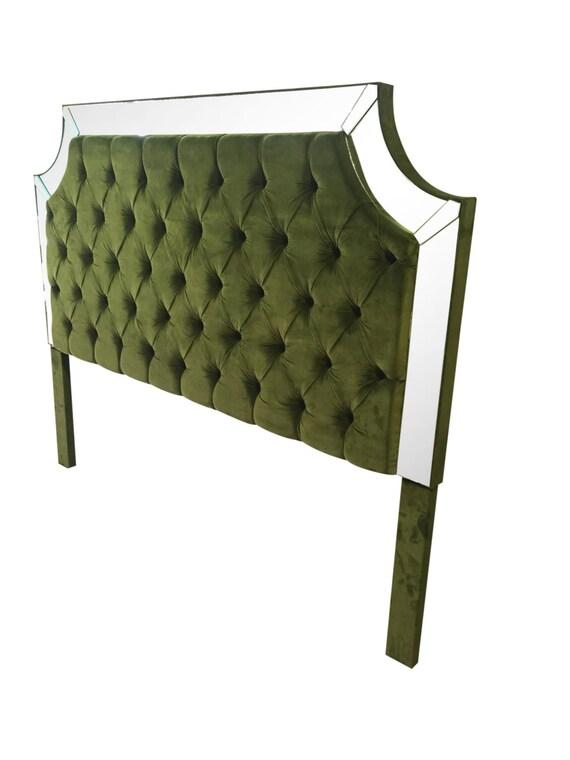 Tamaño King de terciopelo verde tapizado cabecera cabecera