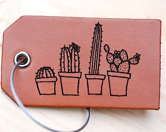 Baggage Tag, Luggage Tag, Cactus, Southwestern, Arizona, Boho, College Girl Gift, Handmade, Made In USA, Line Art, For Her,