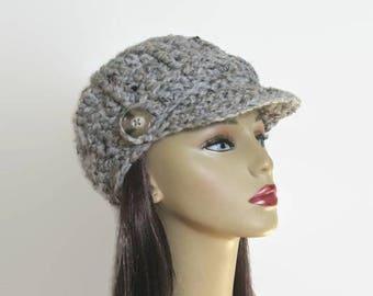 Crochet Newsboy Hat Adult Gray Cap with Visor Grey Tweed Hat with Visor Knit Hat Gray Adult Hat with Brim Gray Hat with visor Tweed Newsboy