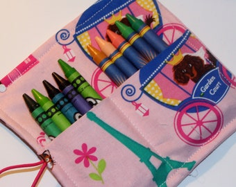 Little Doggy Princess Crayon Roll, Party Favor, Party Supplies, Gift Basket, Party Favor, Wedding Favor, School Supplies, Daycare Supplies