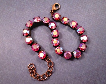 Rhinestone Bracelet, Fire Polished Pink Glass Rhinestone and Copper Beaded Bracelet, FREE Shipping U.S.