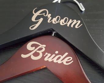 Wedding hanger set for bride and groom, wedding dress hanger set, bride hanger and groom hanger