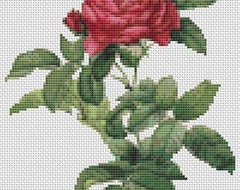 Rose Cross Stitch Chart, Rosa Gallica Pontiana Cross Stitch Pattern PDF, Art Cross Stitch, Pierre-Joseph Redouté