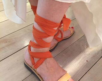 Lace up Greek leather sandals for women. Leather sandals with different color scarf laces.FREE SHIPPING in the USA, Tan flat Greek sandals