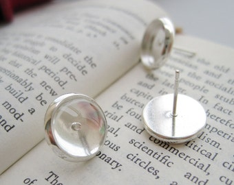 Wholesale 100 Blank Post Earrings- Brass Silver Plated Ear Studs W/ 8mm/ 10mm/ 12mm/ 14mm/ 16mm Round Bezel Cabochon Base Setting