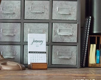 2018 Letterpress Desk Calendar *Limited Edition White with wood base