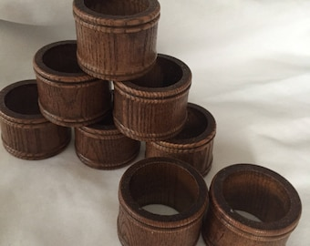 Wood napkin  rings  1970 design, carved wood napkin rings box J