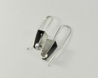 Sterling and Pearl Abstract Fold Earrings - E2630