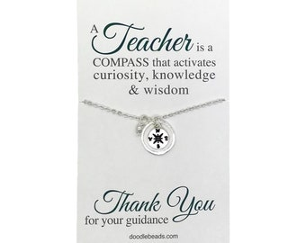 Teacher gifts - Tiny Silver or Gold Compass Necklace - Teacher appreciation carded gift with message - mentor gift,  gift for professor