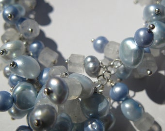 Jewellery Set. SIERRA. Powder Blue Freshwater Pearls. Moonstone Gemstones With Sterling Silver. Necklace and Earring Set