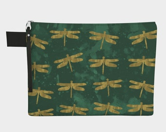 Golden Dragonflies- Zipper Carry-All Bag