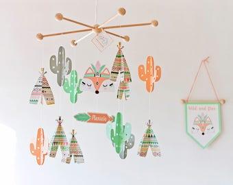 CACTUS NURSERY, cactus mobile BABY, woodland mobile, cactus decor room, tribal baby, baby crib mobile, teepee nursery, modern baby room
