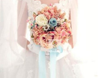 wedding bouquet artificial silk flower rose