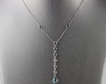 "Blue Topaz Necklace Set In 14K White Gold 16"""