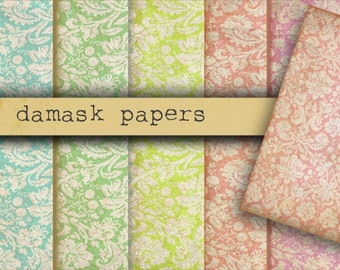 AGED DAMASK PAPERS - Digital Paper Pack -6 Antique Damask Printable Papers,Instant Download Digital Printable