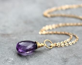 Amethyst Necklace 14k Gold Filled Purple Gemstone Necklace February Birthstone