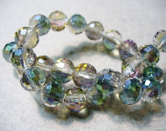 Crystal Beads Micro Faceted Sahara Green  Round 12mm