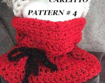 CROCHET PATTERN -scarf cowl, crochet for beginners, number 4, pull over drawstring, instant download