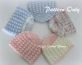 Preemie Baby Beanie Hat Crochet Pattern, Size Preemie, For Boys and Girls, Quick to Make, Instant PDF Download
