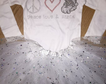 4t Peace Love Santa Shirt- CYBER MONDAY SALE-  Ready To Ship- long sleeve white christmas shirt-  Sample Sale