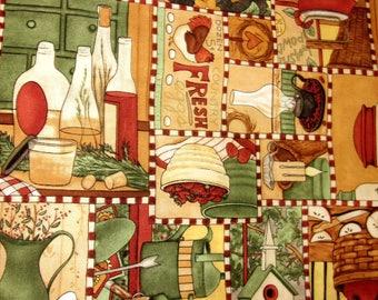 Tissu coton Collage d'images campagne - Folk Art Américain