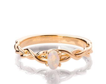 Opal Engagement Ring, 18K Rose Gold and Opal engagement ring, Unique Engagement ring, Opal ring, Celtic Opal Ring, Oval Opal Ring, 2
