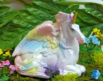 PEGASUS, ALICORN, UNICORN Fairy Figurine, Rainbow Wings, Sparkly, Fairy Kit, Fairy Accessory, Fairy Supply