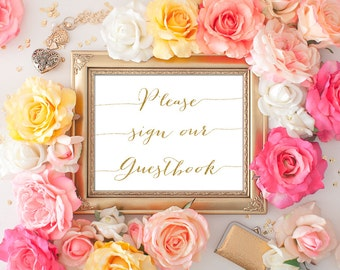 Sign Our Guestbook - 8x10 Wedding Printable Art, Printable Wedding Sign, Reception Printable, Wedding Decor, Gold Calligraphy