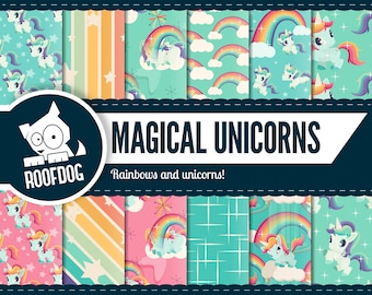 Unicorn digital paper | rainbows and unicorns | magical unicorns | retro unicorn pattern | cute baby unicorn scrapbooking | 1980s | vintage