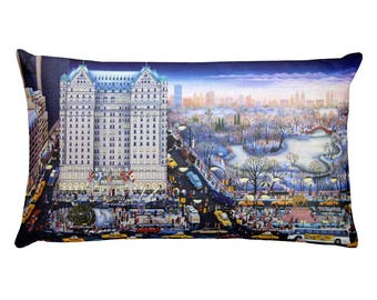 """Rectangular Pillow, """"Twilight In The Park"""" painting by Kathy Jakobsen, The Plaza Hotel, Central Park, New York in Winter, fine art decor"""
