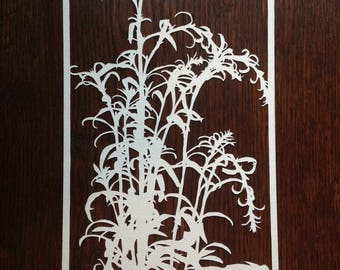 Grasses 5:  Hand-Cut Paper Silhouette of Grass