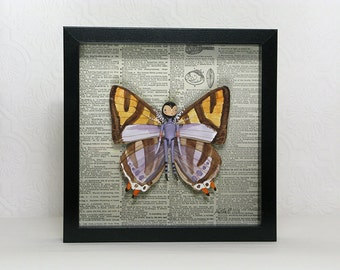 Shadow box Art Doll Butterfly with Watercolor Wings 3D Wall Art