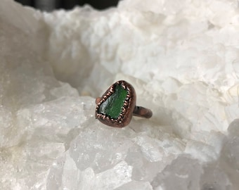 Sea Glass Electroformed Ring- Size 6.5