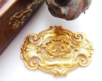 BRASS * Large Ornate Oval Scroll Stamping Plaque ~ Jewelry Findings ~ Brass Stamping (C-1004)