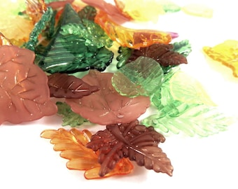50 Acrylic Autumn Leaf Drops Transparent and Translucent Leaves Assorted Sizes and Shapes - 50 pc - A1036-AL50