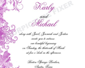 Feather Wedding Invitations, Swirl Wedding Invitations