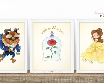 Set of 3 Beauty and the Beast Art Prints, Belle Printable Art, Kids Printable Art, Instant Download Art Prints, Nursery Wall Art, Belle Rose
