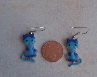Blue Cat earring