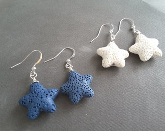 Lava Rock Starfish Drops . Choose Blue or White . Earrings