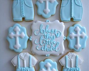 One Four Piece Set Christening, Baptism Sugar Cookies - Sugar Cookies