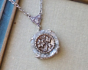 Antique Button Necklace- Depression Glass and Victorian Button- White Tea, Handmade by Timeless Trinkets
