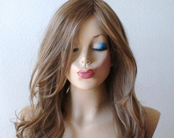 Choco Blonde wig. Lace front wig. Long curly hair long side bangs  heat resistant wig for daily use or cosplay.