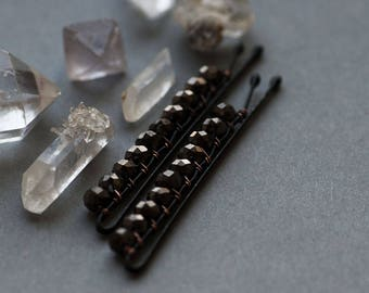 Black Crystal Bobby Pins, Goth Inspired Hair Pins, Black Gothic Bobby Pins
