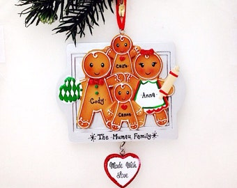 4 Gingerbread Family Personalized Christmas Ornament / Made with Love / Gingerbread family / Big Family Christmas Ornament